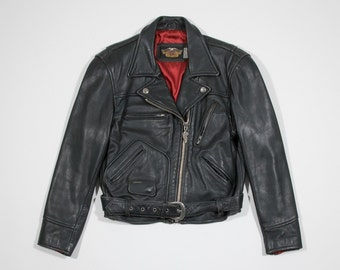 HARLEY DAVIDSON-leather jacket-Black leather biker jacket