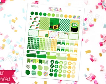 Luck of The Irish St. Patrick's Day PRINTABLE Planner Stickers (DS017) for the Erin Condren, 3LB Studio, Inkwell Press and other planners