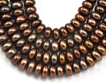 6-7mm Bronze Brown Rondelle Button Freshwater Pearls Grade A
