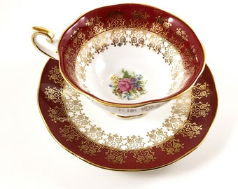 Queen's MONARCH Red Tea Cup & Saucer, Queens Monarch Red Gold and White Tea Cup. RARE