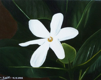 Tiare flower. Flowers, botanical, nature. White flower, green leaves, Tahiti, still lifes, naive...
