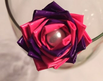 Pink and Purple Duct Tape Rose Pen