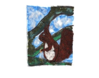 needle felted squirrel painting OOAK