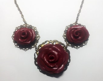 Red pink polymer clay necklace