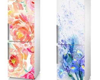"Fridge Vinyl Sticker *** China Rose *** The Irises *** / Self-Adhesive Vinyl Refrigerator Decal / 185 x 60 cm  (73"" x 24"")"