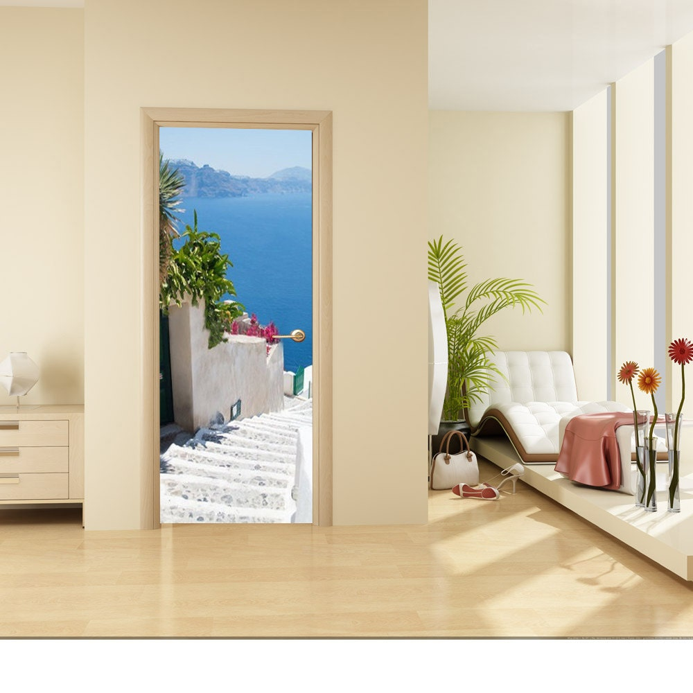 door wall sticker staircase leading down to the sea. Black Bedroom Furniture Sets. Home Design Ideas