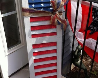 Shutter for July 4th decor! Painted wood/ repurposed wood shutter; red, white & blue; indoor/outdoor decor