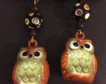 Owl bell earrings