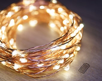 5m Copper String Fairy Lights (Warm White) | 3 X AA Batteries