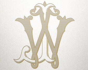 Custom Wedding Monogram - JW WJ - Wedding Monogram - Vintage