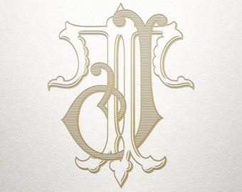 Fancy Monogram Design - JT TJ - Fancy Monogram - Digital