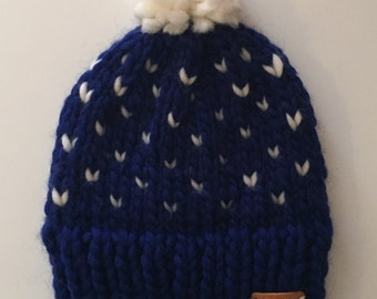 Blue and White Fair Isle Knit Beanie with Pom - 100% Wool