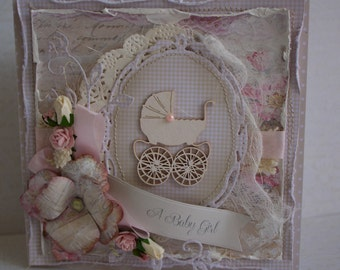 Shabby Chic Handmade Baby congratulation card