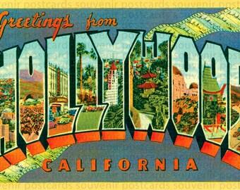 Hollywood, Hollywood Postcard, Hollywood Sign, Hollywood Art, Hollywood Vintage Art, Hollywood Wall Art, Hollywood Prints, California