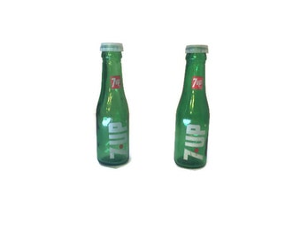 7-Up Pop Bottle Salt and Pepper Shakers