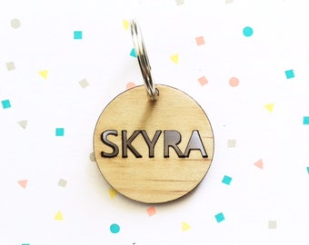 CUSTOM TIMBER KEYRING - Quality Laser Cut Custom Keyring, Bag Tags With Hoop Ring 40mm