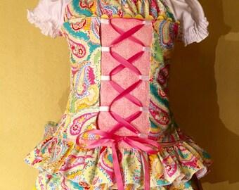Boutique custom corset & skirt set Sz 2T