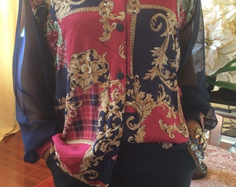 Baroque abstract print blouse