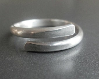 Sterling Silver Wrap-Around Ring, Silver By-Pass Ring