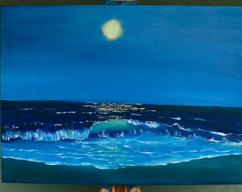 panel art, seascape painting, wave painting, night painting ocean, oil painting,