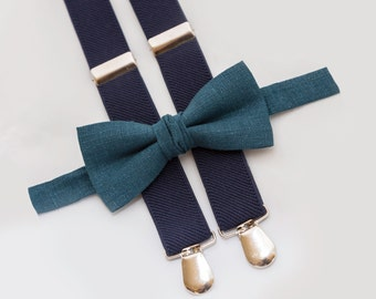 Ring Bearer Outfit Teal Bow Tie and Navy Blue Suspenders Boys Wedding Outfit