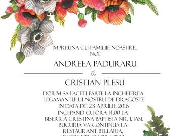 Poppies wedding invitation