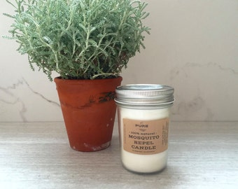 Bug Repel Outdoor Candle : Lemongrass / DEET free / Citronella free / outdoor candle / soy / vegan / all natural