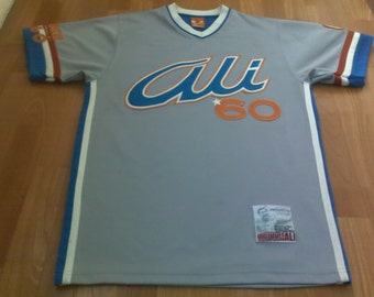 FUBU jersey, vintage Muhammad Ali t-shirt of 90s hip-hop clothing, Platinum Fubu gray shirt, 1990s hip hop, OG, gangsta rap,size M, RARE!