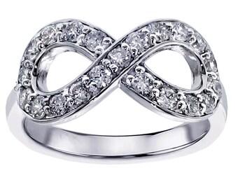 0.65 CT Diamond Infinity Anniversary Ring in 18k White Gold
