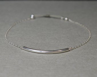Tube and fine chain Silver 925 bracelet