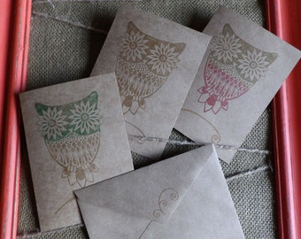 Owl Stamp Cards, Blank cards, Greeting Cards, Handmade Cards, Stamped Cards