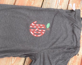 Teacher apple applique monogram