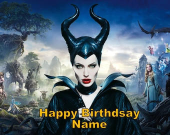Maleficent Sleeping Beauty Edible Image Cake Topper Personalized Birthday 1/4 Sheet