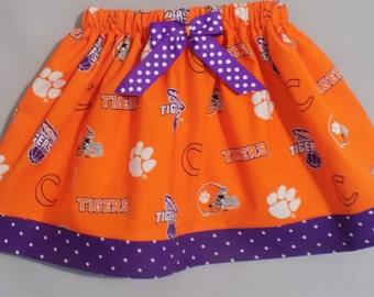 Clemson Tigers Football/Basketball Girl Skirt, Clemson Baby, Clemson Girl, Clemson Toddler, Orange and Purple, Tigers Skirt