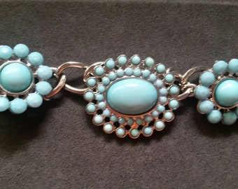 Aqua flower bracelet