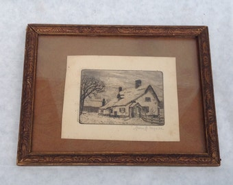 Jean J. My all' Original Winter Cottage Etching 1940's