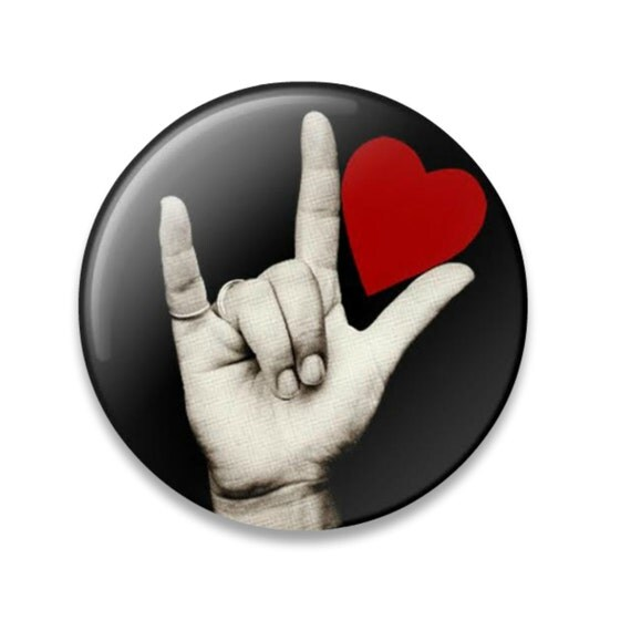 american sign language i love you button hand red by