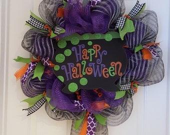 Happy Halloween Mesh Wreath