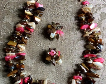 Vintage Retro Japan choker agate coral stones double row necklace with clip on  earrings set