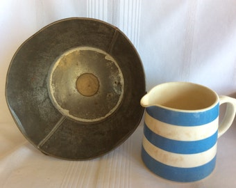 Antique Primitive tin farm milk strainer filter colander strainer with metal screen