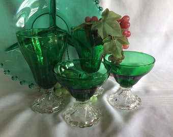 Vintage anchor Hocking boopie forest green champagne and emerald green water goblets
