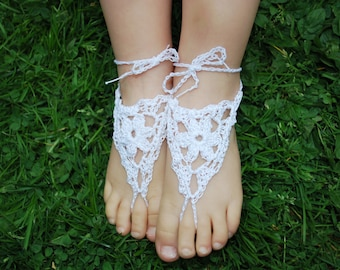 toddler white lace crochet barefoot sandals