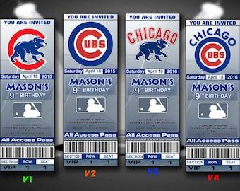 Chicago Cubs Invitation, Chicago Cubs Birthday Invitations, Baseball Invites, Birthday Tickets, Ticket