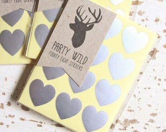 TEMPORARILY SOLD OUT - Mini Heart Stickers Pk48 - Metallic Silver