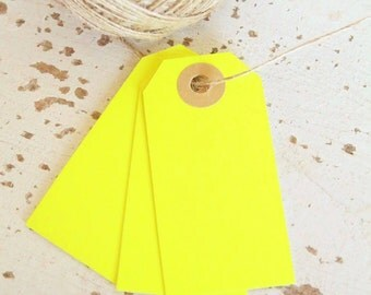 Parcel Tags Pk10 - Neon Yellow