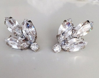 Bridal Vintage Style crystal Earrings, Clear swarovski Clip On earrings, Wedding Clip On swarovski earrings, bridesmaid earrings