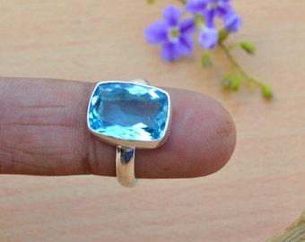 Cushion Cut Blue Topaz Gemstone ring, Gemstone Solid 925 Sterling Silver Ring , Birthstone ring,