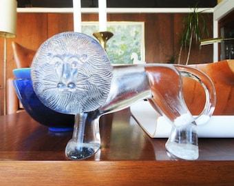 Kosta Boda Grand Lion by Erik Hoglund Glass Figuri
