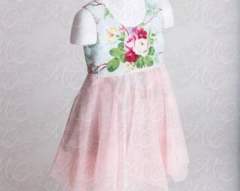 Vintage Inspired cotton floral print baby girls dress with mesh hankie hem skirt size NB-8