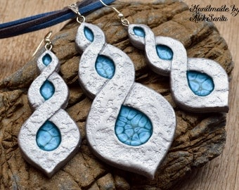 Statement jewelry set Statement necklace Statement pendant Statement earrings Long earrings Dangle earrings Polymer clay jewelry for women